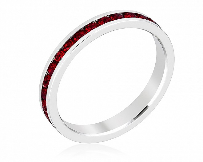 Sparkly Stackable Dark Red Crystal Eternity Band